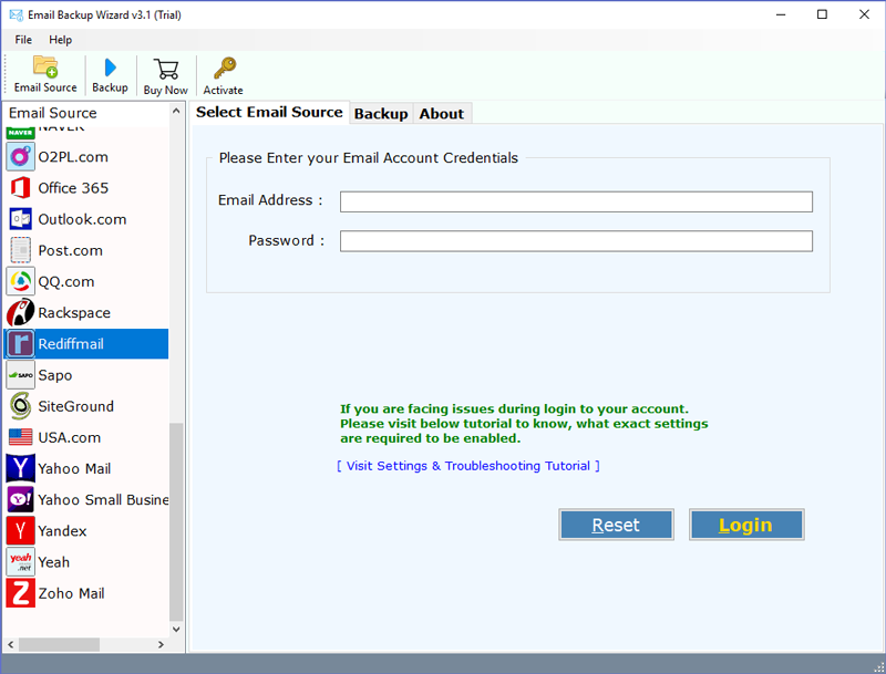 Rediffmail Mail backup Software