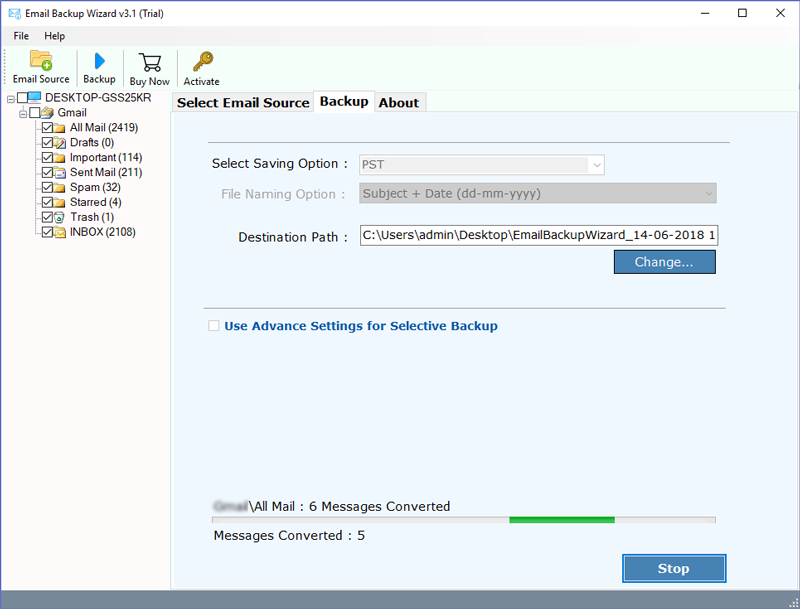 Rediffmail Mail Backup