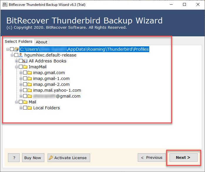 Choose Thunderbird Folders