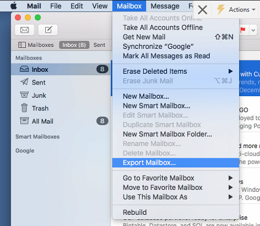 export mailbox option