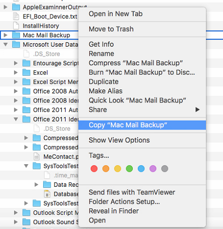copy backup folder