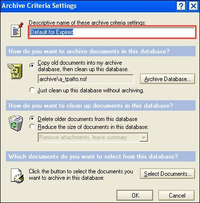select the name for your archive folder