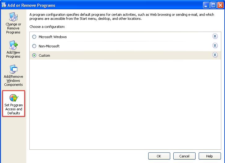 Set Program Access and Defaults
