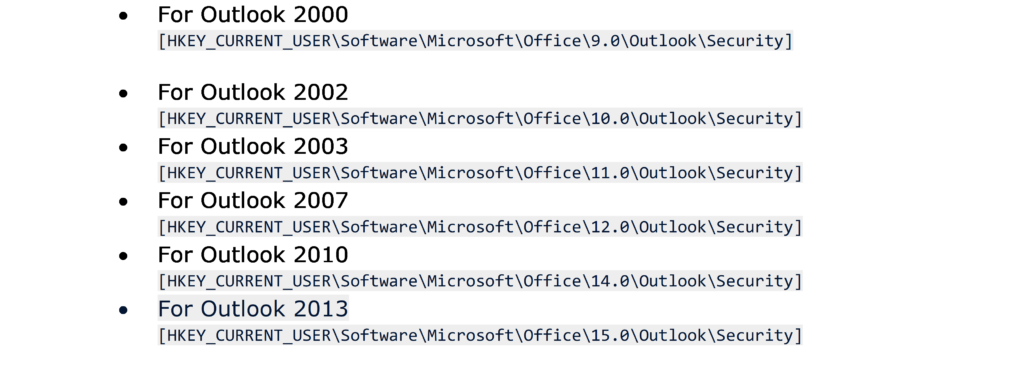 version of Outlook