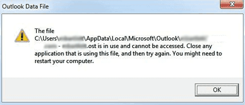 Outlook OST File is in Use and cannot be accessed