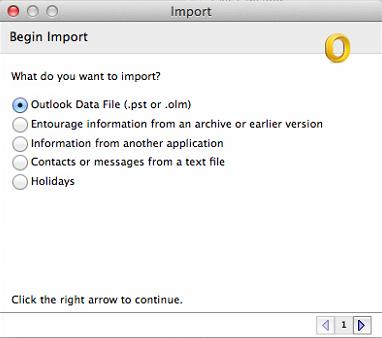 Choose OLM Mac Outlook archive file format