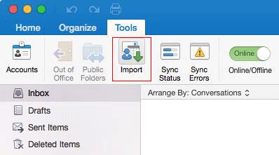 Tools > Import