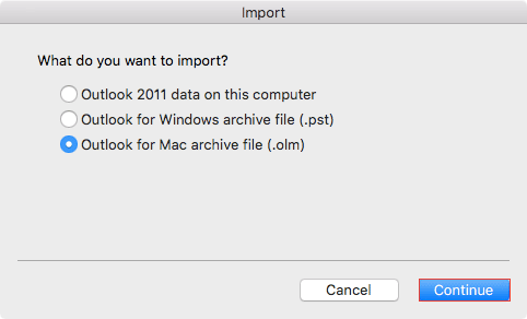 Outlook for Mac archive file (.olm)