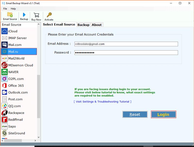 Mail.Ru Backup Tool