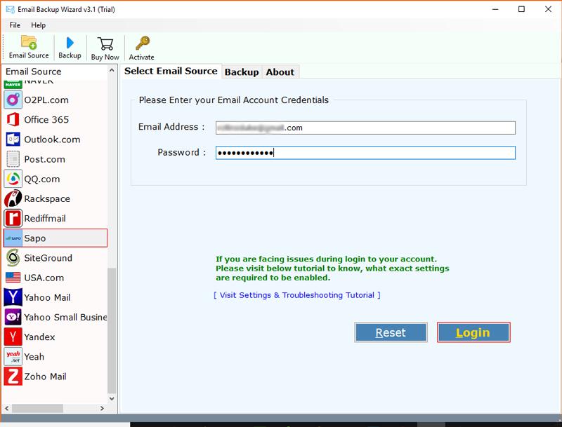 Sapo mail backup