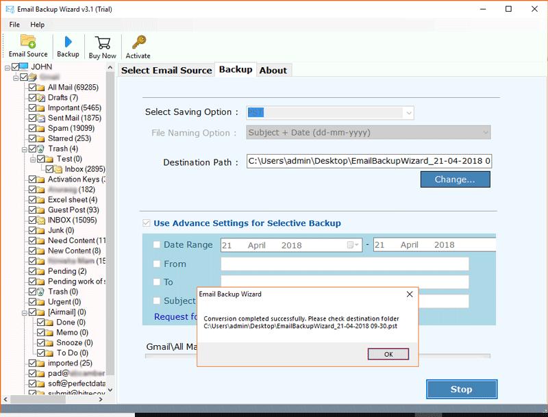Sapo Mail backup to PST