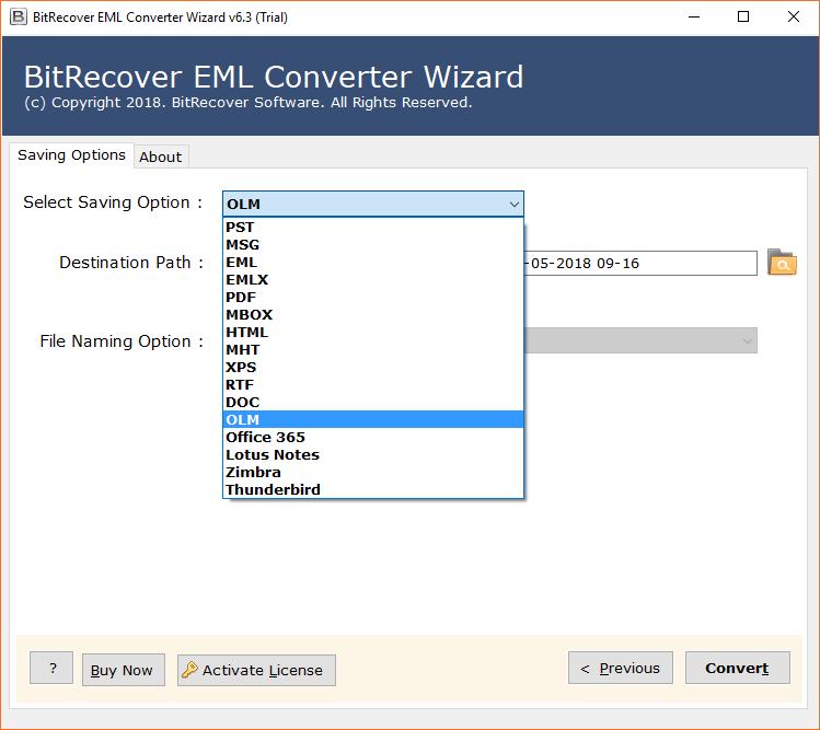 Select OLM saving format