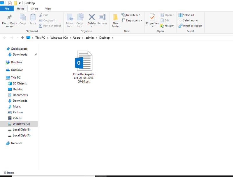 Exported PST file