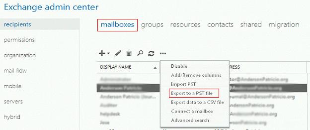 Export Exchange Emails