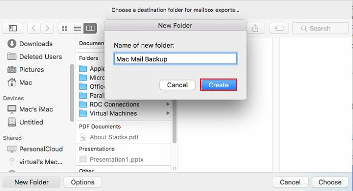 Create Mac Mail Backup folder