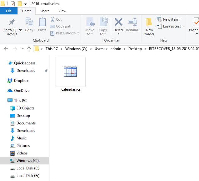 Resultant .ics file