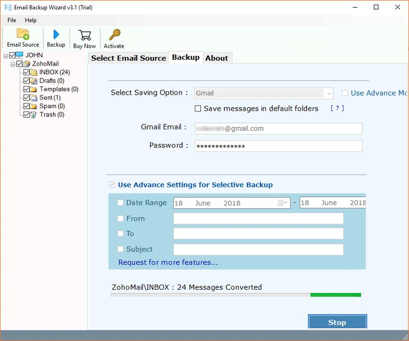Zoho to Gmail forwarding