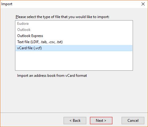 Select vCard file (.vcf)
