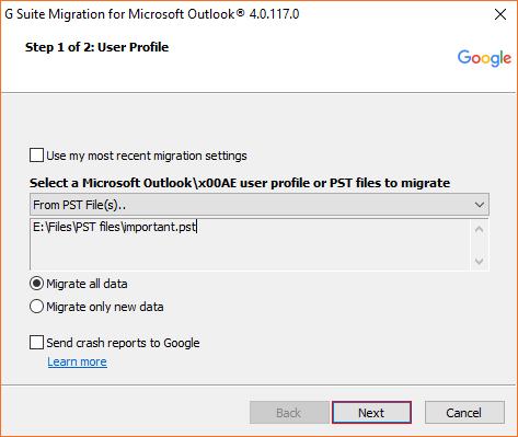 eM Client export to Gmail