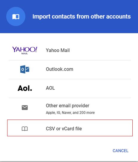 CSV or vCard