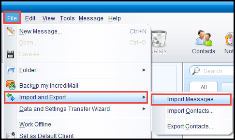 import option incredimail