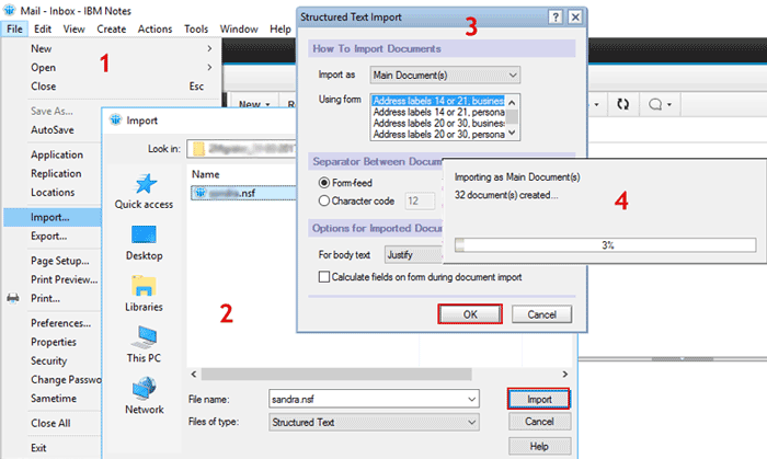 Import resultant NSF file to Lotus Notes