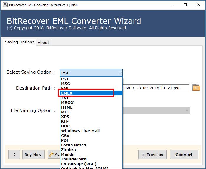 Choose EMLX format