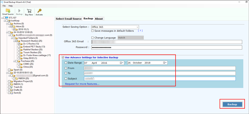 Use Advance Settings for Selective Backup