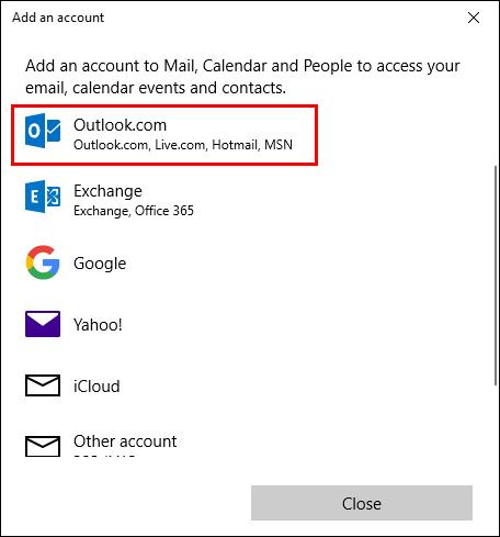 Choose Outlook.com