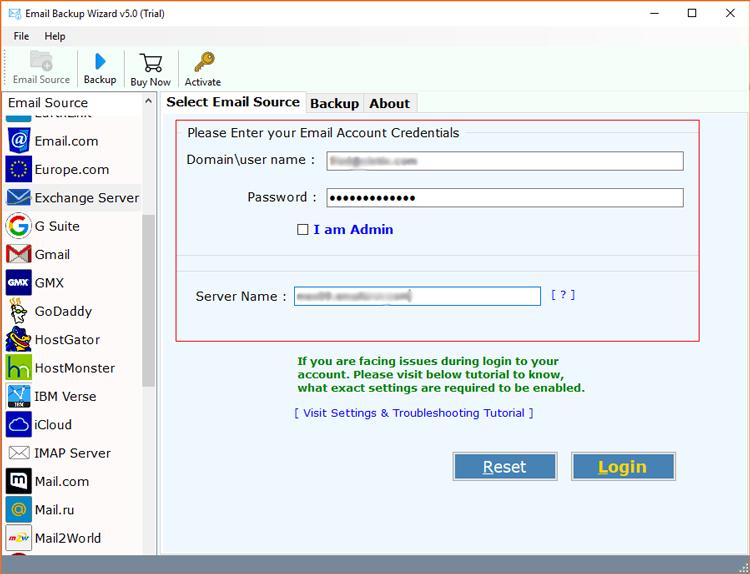 Credentials of your Exchange Server