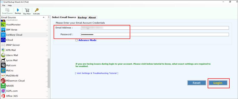 credentials of your IceWarp webmail