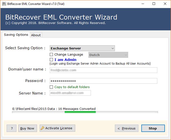 EML to Exchange Server migration