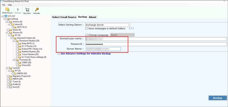 Enter the credentials of your Live Exchange Server