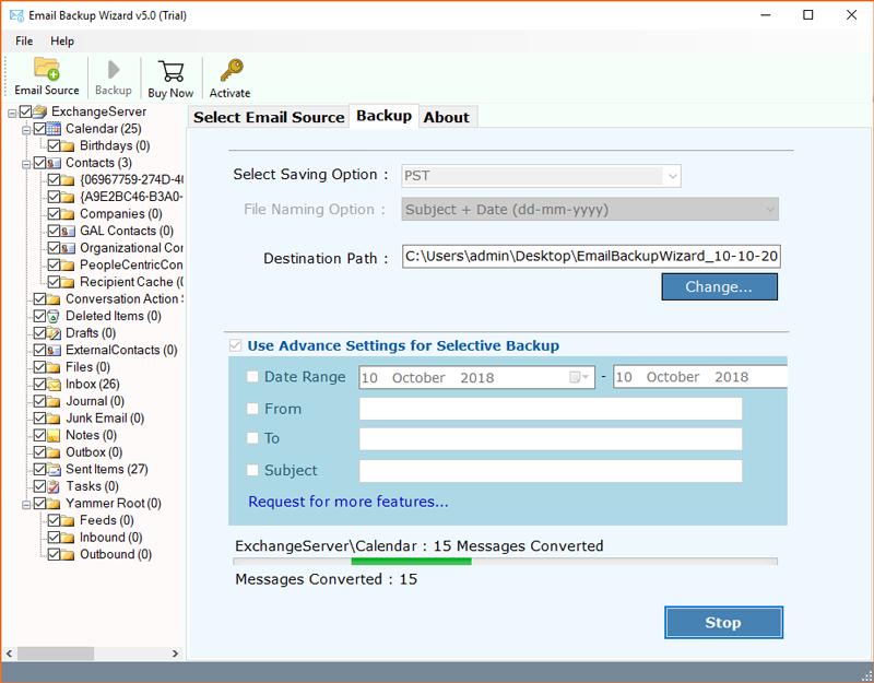 Exchange Server backup and restore