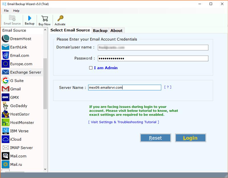 Exchange Server option