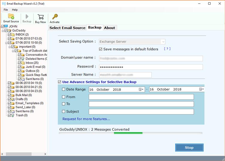 GoDaddy to MS Exchange Server migration