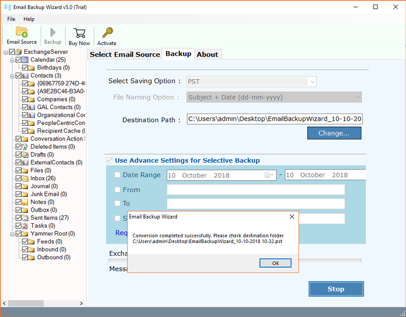 Hosted Exchange server backup