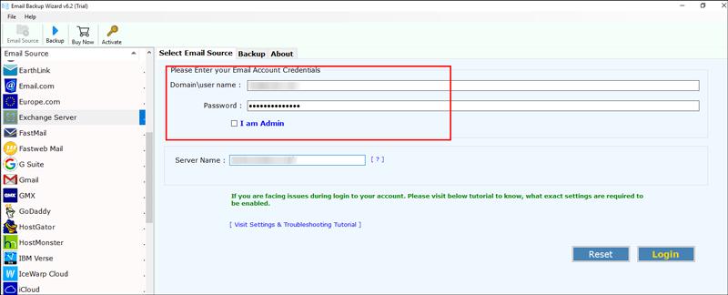 Enter the login details