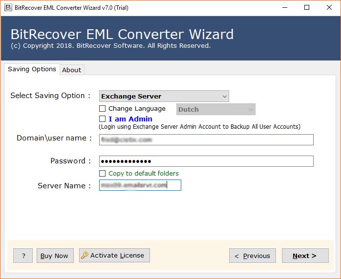 Exchange Server login details