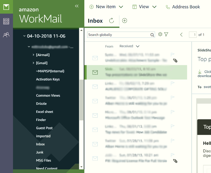 Login to your Amazon WorkMail account