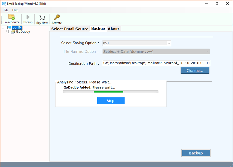 Migrate GoDaddy emails to Live Exchange Server