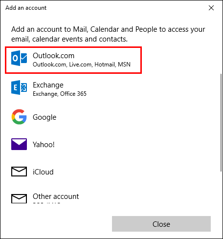 Opening Windows 10 Mail