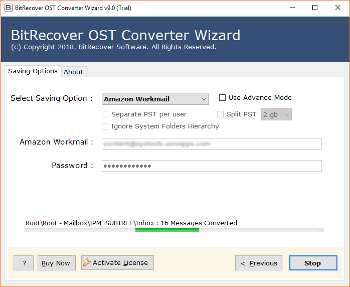 OST to Amazon WorkMail migration