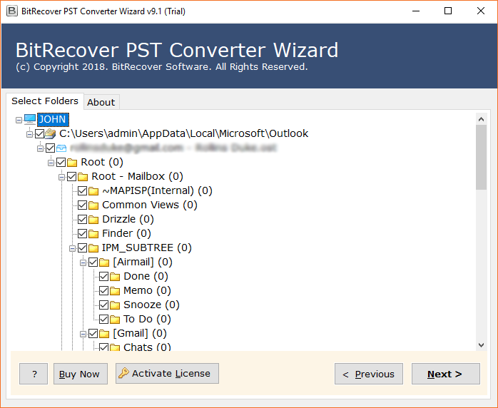 Outlook PST folders