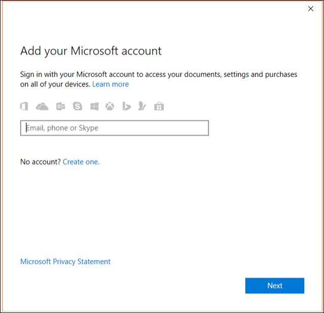 Enter Outlook.com credentials