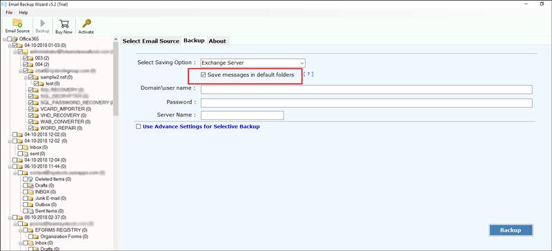 Save Messages in Default Folders