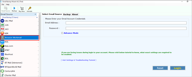 Select Amazon WorkMail