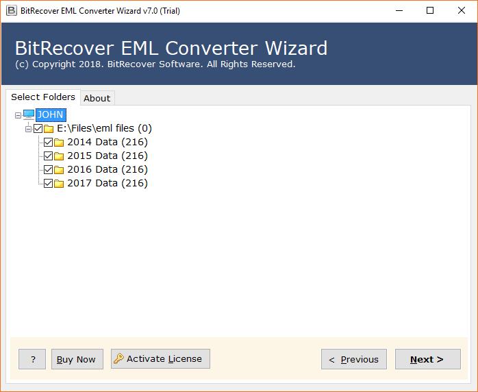 Select EML folders