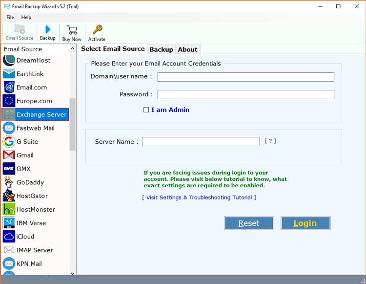 Select MS Exchange Server