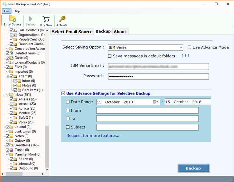 Use Advance Settings for selective Backup